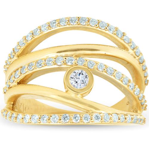 3/4 Ct Diamond Multi Row Diamond Ring 10k Yellow Gold Womens Right Hand (I/J, I2-I3)