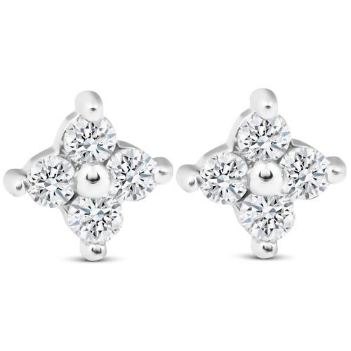 1/2ct Diamond Eight-Stone Star Burst Studs 14K White Gold (G/H, SI2-SI3)