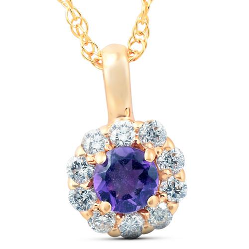 1/2 Ct Diamond & Genuine Amethyst Halo Pendant 14k Yellow Gold Womens Necklace (G, VS)