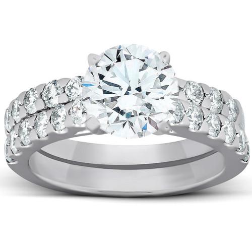 2.27Ct Diamond Engagement Matching Wedding Ring Set 14k White Gold Lab Grown (G, VS)