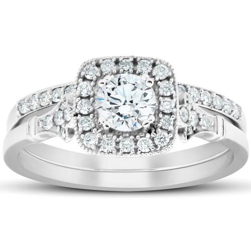 .75 Ct Cushion Halo Diamond Engagement Wedding Ring Set 14k White Gold Lab Grown (G, VS)
