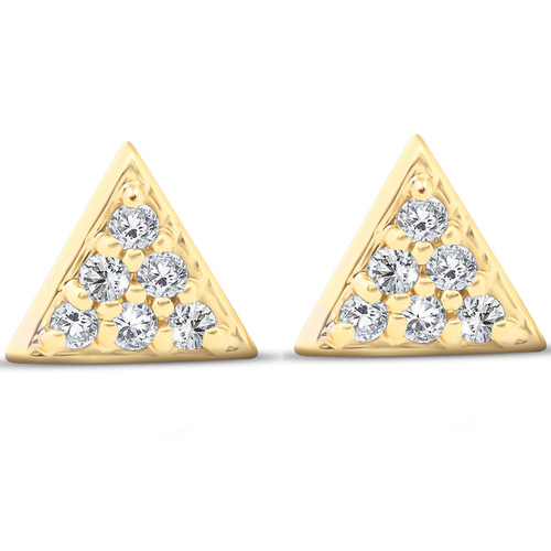 14k Yellow Gold Triangle Pave 1/10 Ct Diamond Delicate Spike Studs Womens Earrings (G/H, I1)