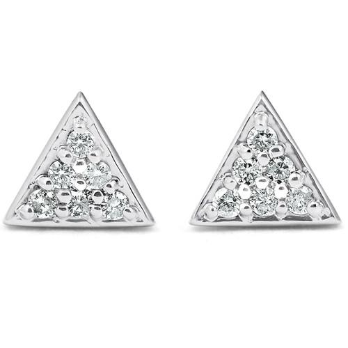 G/VS 14k White Gold Triangle Pave .12Ct Diamond Delicate Studs Womens Earrings (G/H, VS)