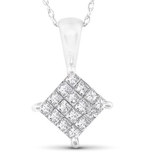 "1/2 cttw Princess Cut Pave Diamond Halo Pendant 10K White Gold 5/8"" Tall (JK, I2-I3)"