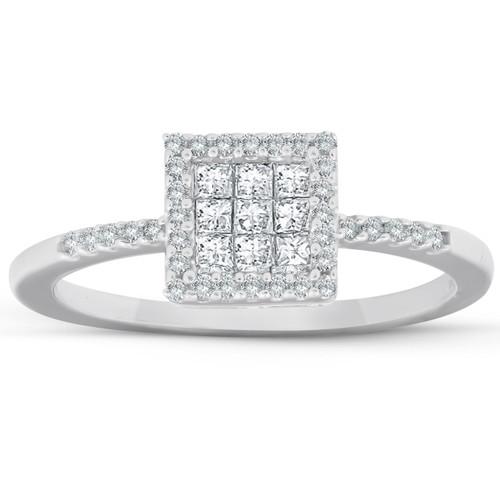 3/8 Ct Princess Cut Diamond Halo Engagement Ring 10k White Gold (I/J, I2-I3)