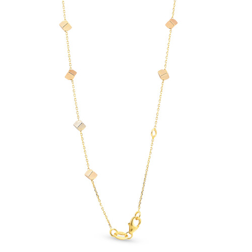"14k Yellow White & Rose Gold Tri Color Cube Station Necklace 17"" Lobster Clasp"