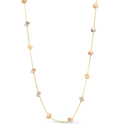 """14k Yellow White & Rose Gold Tri Color Cube Station Necklace 17"""" Lobster Clasp"""