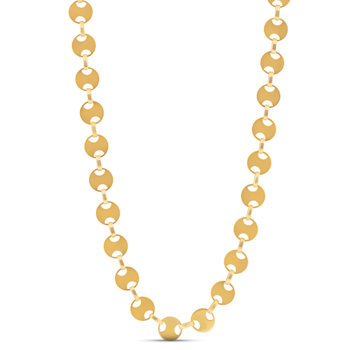 """14k Yellow Gold 18"""" Solid Fancy Circle Disc Chain Womens Necklace 8.4 Grams"""
