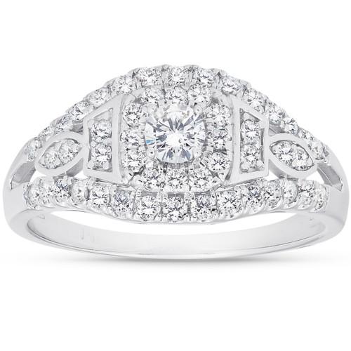 1 Ct Diamond Halo Multi Row Engagement Ring 10k White Gold (I/J, I2-I3)