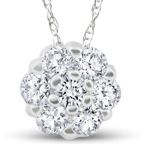 1/2ct Diamond Cluster Solitaire Pendant 10k White Gold (H/I, I1)