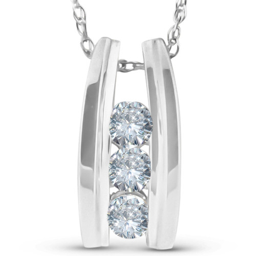 "1/4 Ct Three Stone Diamond Pendant 14k White Gold 1/2"" Tall (G/H, I1)"