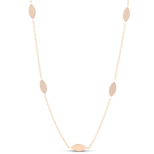 """14k Rose Gold 18"""" Station Leaf Womens Necklace"""