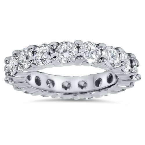 4Ct Diamond Eternity Wedding Ring Lab Grown Diamonds 14k White Gold (H/I, SI1-SI2)