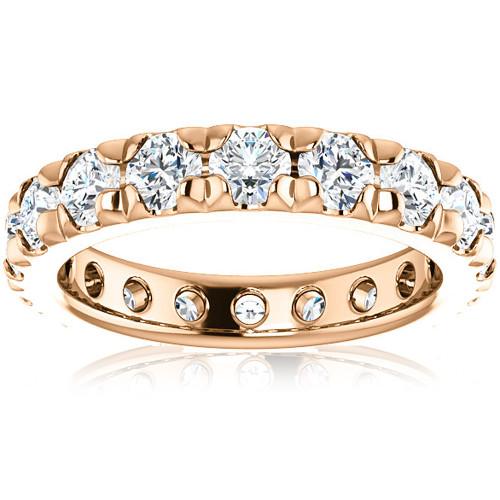 3 5/8 Diamond Pave Set Eternity Wedding Ring 14k Rose Gold (I/J, I1-I2)