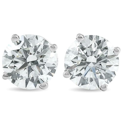 2 Ct Platinum Diamond Screw Back Studs Enhanced (H, SI)