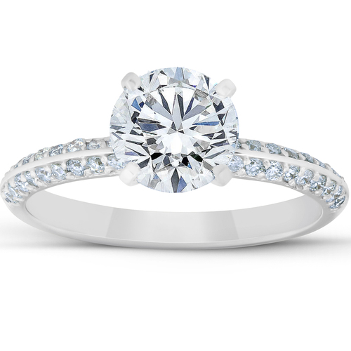 2 Ct Diamond Engagement Ring Pave 14k White Gold (G/H, SI1-SI2)