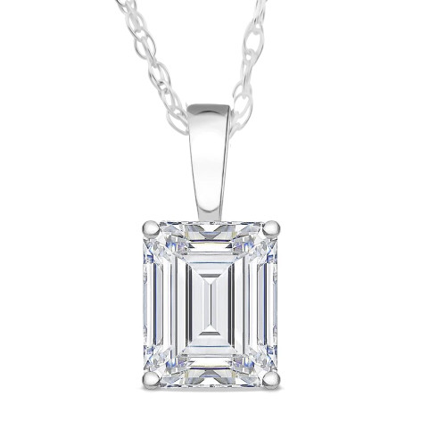 1 Ct Emerald Diamond Solitaire Pendant 14k White Gold (H, SI)