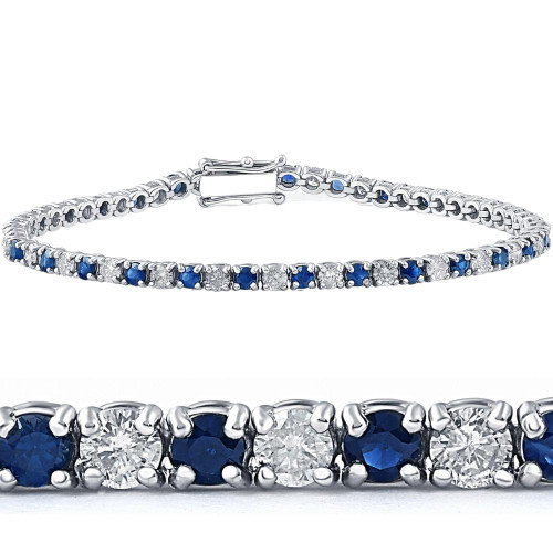 5ct Blue Sapphire & Diamond Genuine Tennis Bracelet 14K White Gold (G/H, I2)