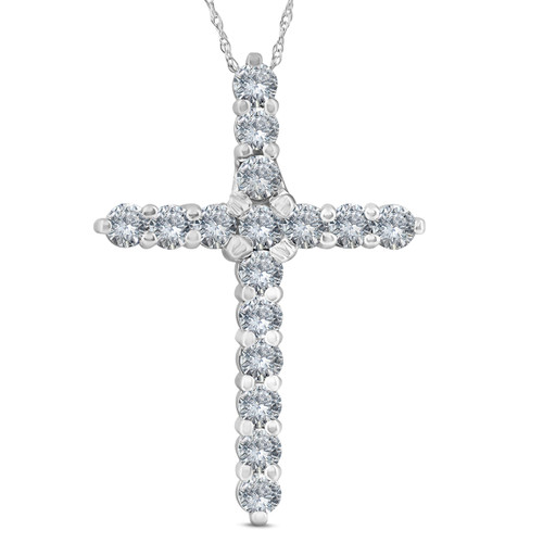 "1 3/4 Ct Diamond Cross Pendant 10k White Gold 1 1/3"" Tall (G/H, I1)"
