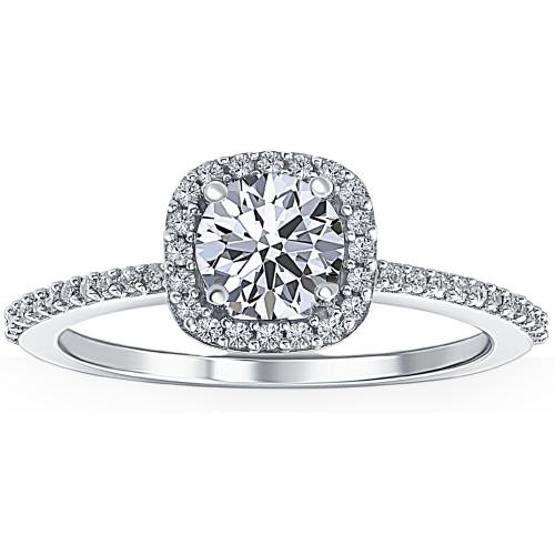 1 Ct Diamond Cushion Halo Engagement Ring Lab Grown 14k White Gold (F, VS2)