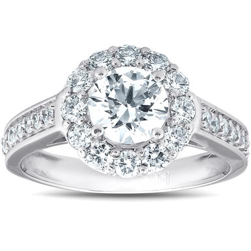 2 Ct Diamond & Moissanite Halo Engagement Ring 14k White Gold (G/H, VS)