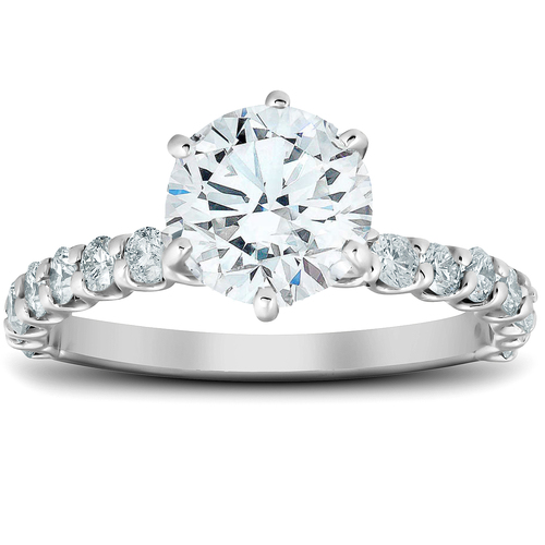 1 3/4 Ct Round Cut Diamond Engagement Ring 14k White Gold (G/H, SI1-SI2)