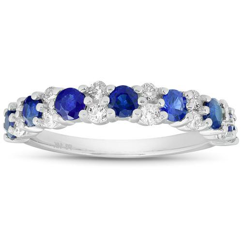 1 1/2 Ct Blue Sapphire & Diamond Wedding Ring 14k White Gold (H/I, )
