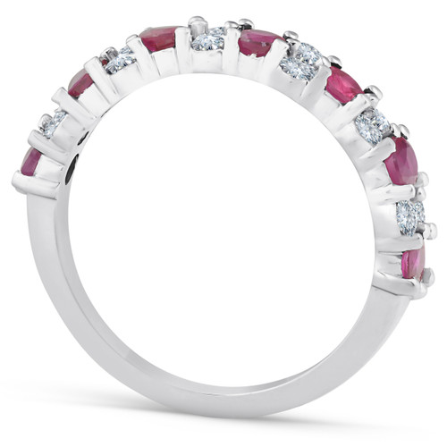 1 1/2 Ct Ruby & Diamond Wedding Ring 14k White Gold (H/I, )