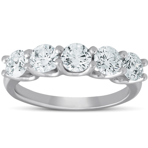 1 1/2 Ct Diamond Five Stone U Prong Wedding Ring 14k White Gold (H/I, I1-I2)