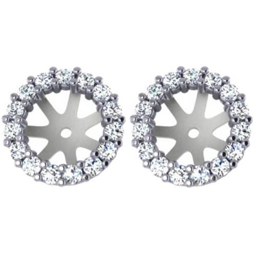 3/4ct Diamond Earring Studs Halo Jackets 14 Kt WG (6.5-7mm) (G-H, I1)