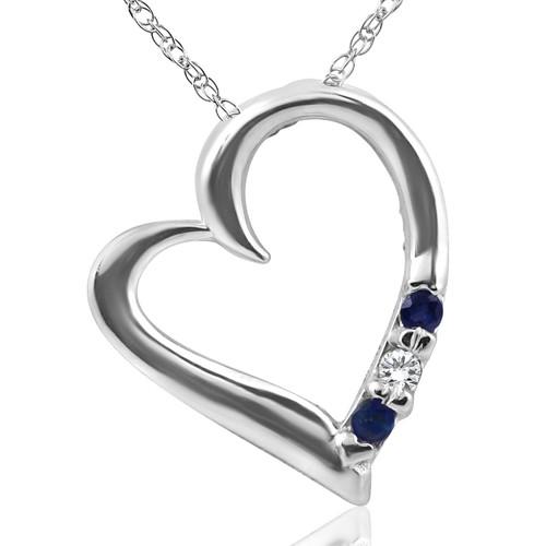 "Diamond & Blue Sapphire Heart Pendant 3-Stone 14K White Gold with 18"" Chain (G/H, I2)"