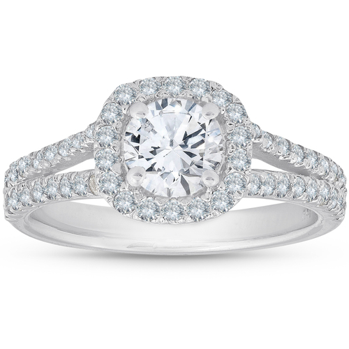 1 1/2Ct Diamond Cushion Halo Split Shank Engagement Ring 14k White Gold (H/I, SI1-SI2)