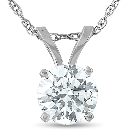 .65 Ct Diamond Solitaire Pendant Necklace Available in 14k White or Yellow Gold (I, I1)