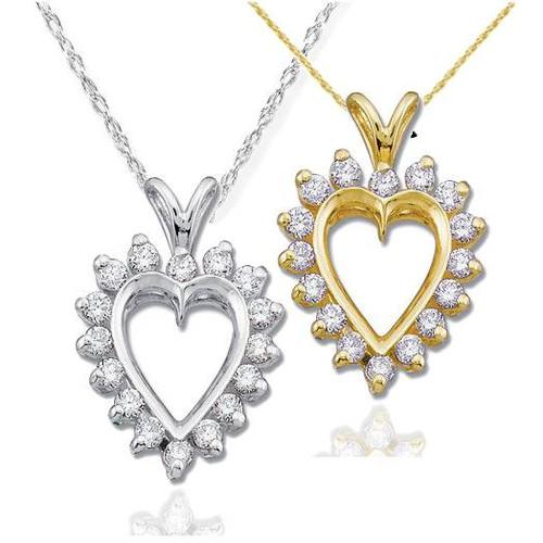 1/2CT Diamond Heart Pendant 14K Gold