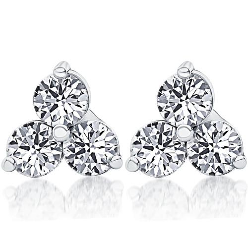 2ct Three Stone Diamond Studs 14K White Gold (I/J, I1-I2)