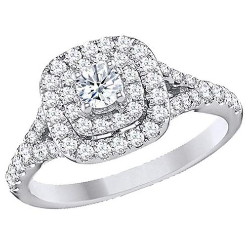 1 Ct TDW Diamond Engagement Ring Double Cushion Halo 14k White Gold (H/I, I1-I2)