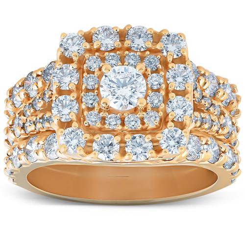 3 1/2 Ct Diamond Engagement Trio Wedding Ring Set 10k Yellow Gold Cushion Halo (H/I, I1-I2)