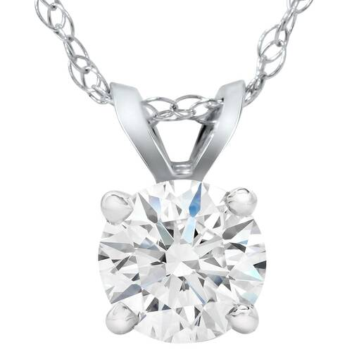 3/4ct Diamond Round Solitaire Pendant 14K White Gold Lab Grown (F, VS)
