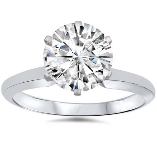VVS 3ct Solitaire Moissanite Engagement Ring Round Brilliant 14k White Gold (G/H, VVS1)