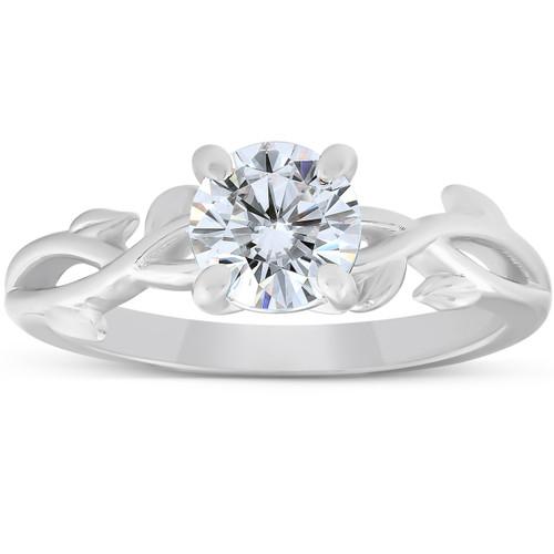 1 1/4 ct Solitaire Moissanite Vine Engagement Ring 14k White Gold (H/I, VVS1)