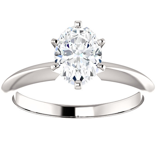 1 Ct Oval Moissanite Solitaire Engagement Ring 14k White Gold (H/I, VVS1)