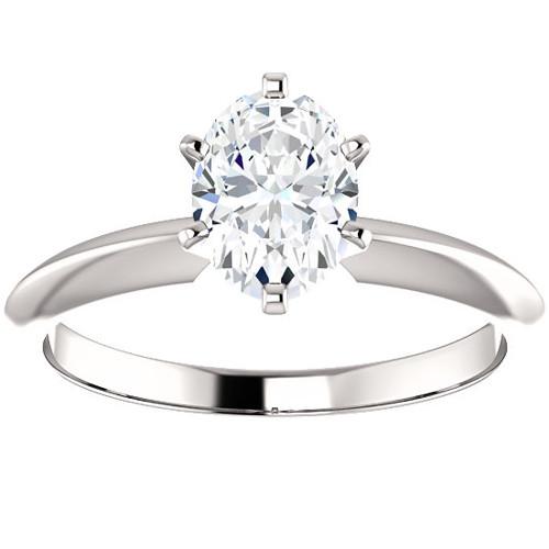 1 Ct Oval Moissanite Solitaire Engagement Ring 14k White Gold (H/I, VVS1)
