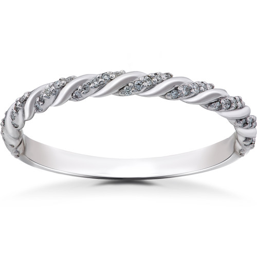 14K White 1/8 CTW Lab Grown Diamond Pavé Twisted Womens Wedding Ring (((G-H)), SI(1)-SI(2))