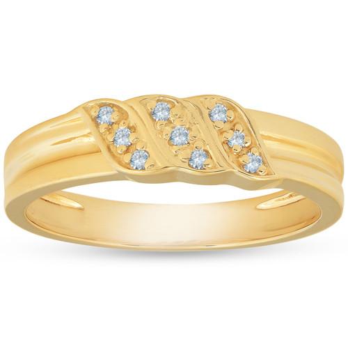 Mens 10k Yellow Gold Diamond Ring Anniversary Wedding Band (I/J, I1-I2)