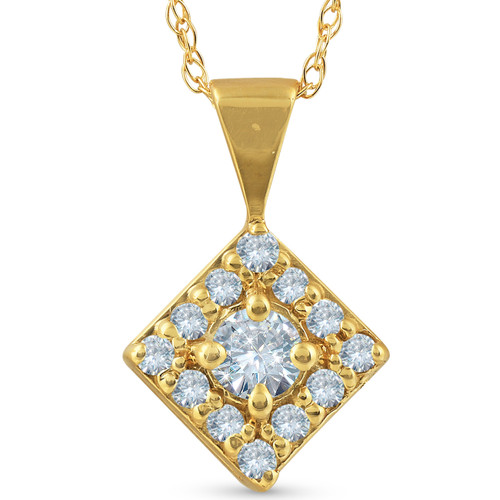 1/3ct Diamond Halo Princess Framed Pendant Necklace Solid 14K Yellow Gold (G/H, I2)
