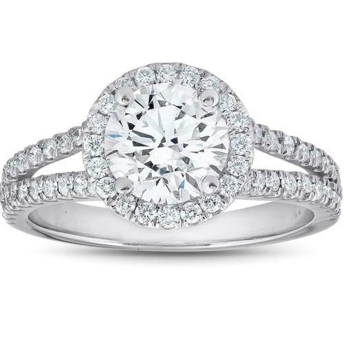 2 Ct tdw Diamond Halo Split Band Engagement Ring 14k White Gold (G/H, SI1-SI2)