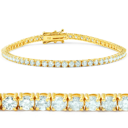 "7 1/2 ct Diamond Tennis Bracelet 18K Yellow Gold 7"" (G, I2-I3)"