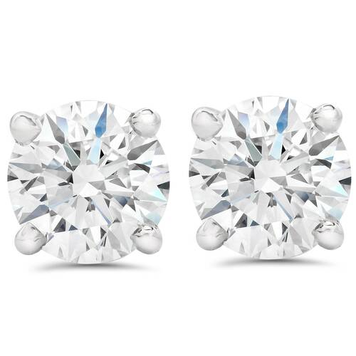 2 1/2 ct Round Diamond Screw Back Studs in 14k White Gold Enhanced (G-H, SI)