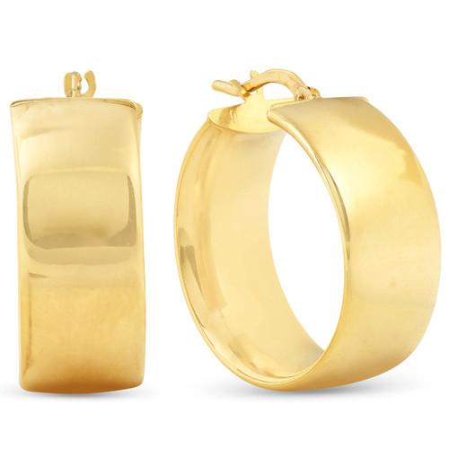 14K Yellow Gold Classic High Polished 19mm Womens Hoops Earrings