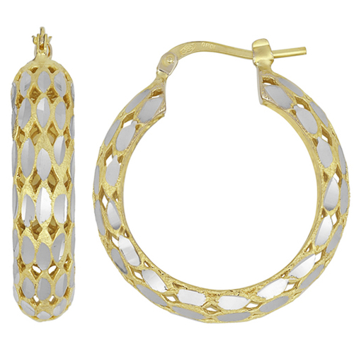 14K Yellow Gold Classic High Polished Facet Cut Womens Hoops Earrings